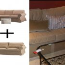 IKEA EKTORP 3 Seat Sofa AND 2 Seat Loveseat Sofa SLIPCOVER SET Covers IDEMO BEIGE