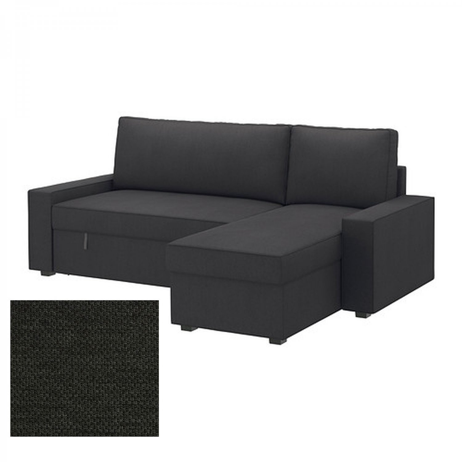 Ikea vilasund sofa bed with chaise longue slipcover sofabed cover dansbo dark gray grey - Chaise longue sofa bed ...