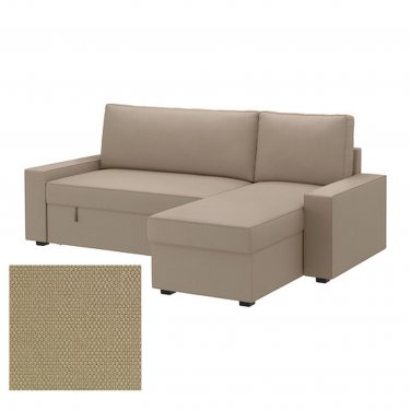 IKEA VILASUND Sofa Bed with Chaise SLIPCOVER Sofabed Cover DANSBO BEIGE