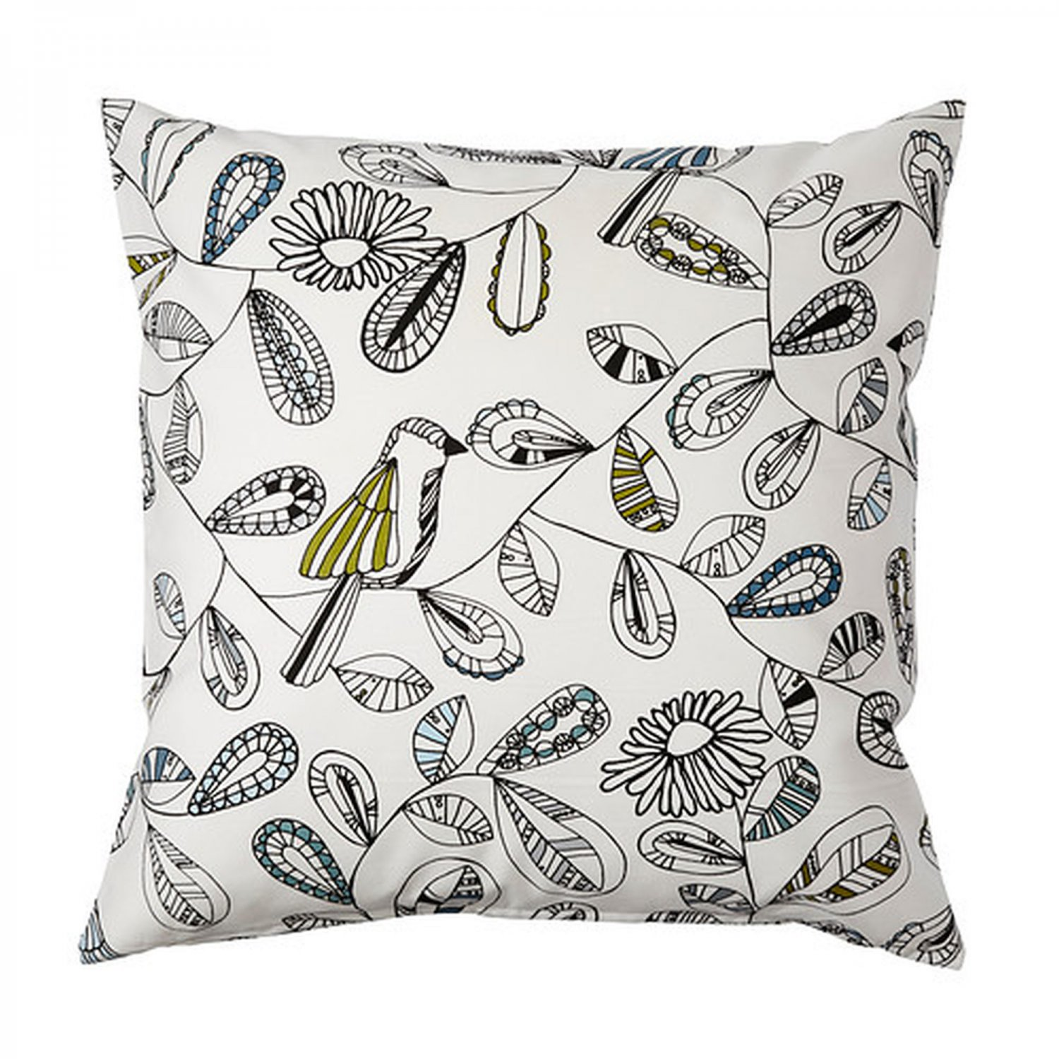 ikea snabbvinge cushion cover pillow sham birds flowers leaves 20 x 20. Black Bedroom Furniture Sets. Home Design Ideas