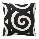 "IKEA TRADKLOVER Cushion COVER Pillow Sham BLACK White Swirl 20"" x 20"""