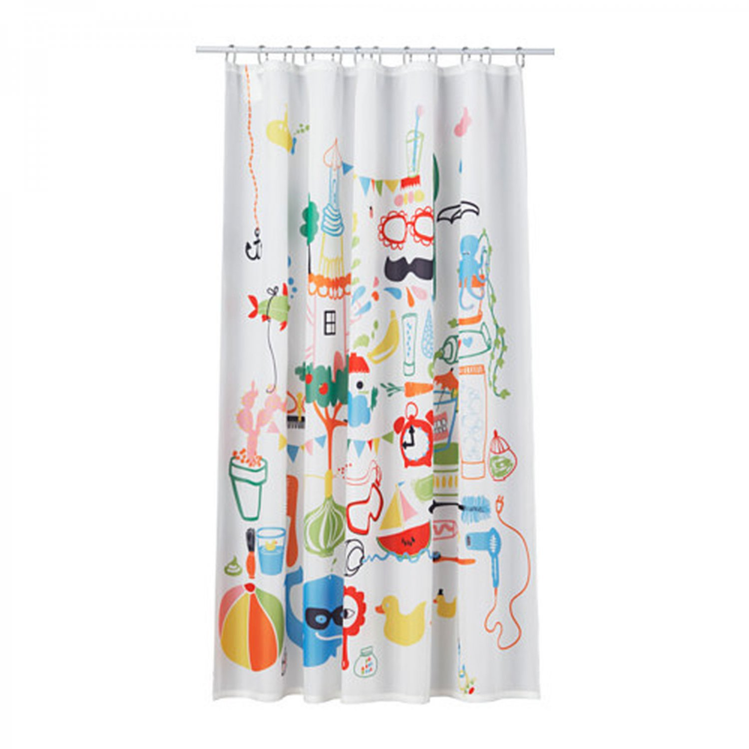 Ikea badb ck fabric shower curtain multicolor fun kids for Kids drapery fabric