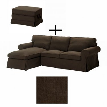 Ikea Ektorp Loveseat With Chaise And Bromma Footstool Cover Slipcover Svanby Brown