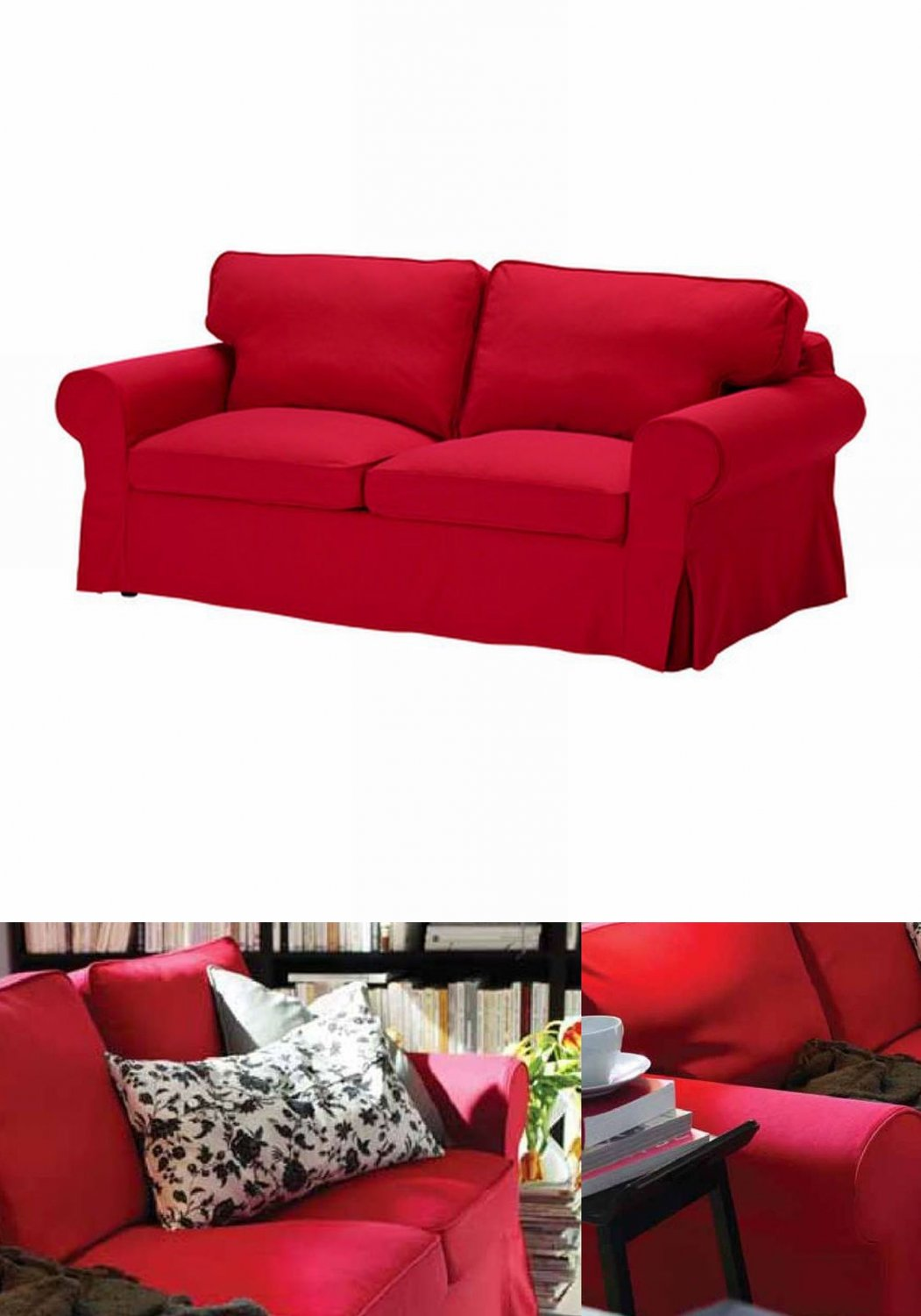 IKEA EKTORP 2 Seat Loveseat Sofa COVER Slipcover IDEMO RED
