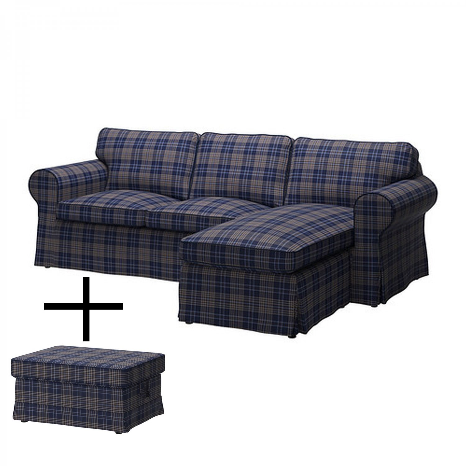Ikea Ektorp Loveseat With Chaise And Footstool Cover Slipcover Rutna Multi Plaid Blue