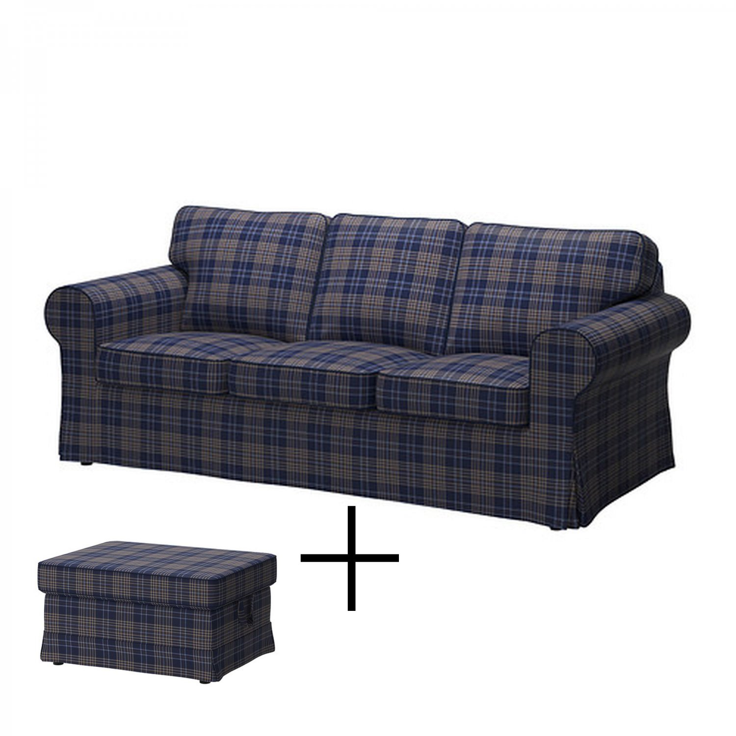 Ikea Ektorp 3 Seat Sofa And Footstool Cover Slipcover Rutna Multi Plaid Blue