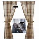 IKEA BENZY Plaid CURTAINS Drapes 2 Panels BEIGE Tan Gray Purple Grey PLUM