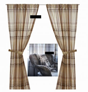 ikea benzy plaid curtains drapes 2 panels beige tan gray purple grey plum. Black Bedroom Furniture Sets. Home Design Ideas