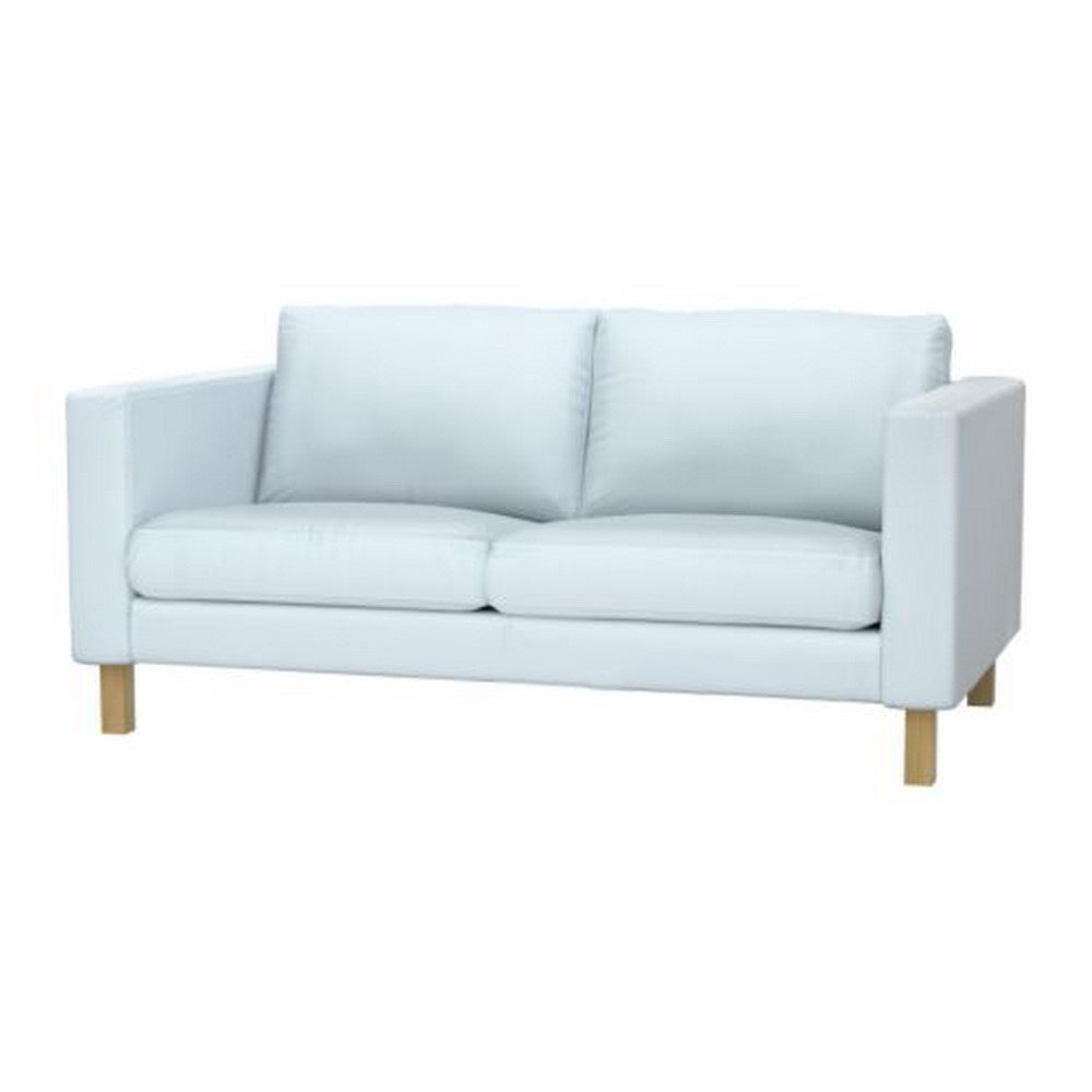 Ikea karlstad loveseat slipcover 2 seat sofa cover sivik light blue mid century modern Blue loveseat slipcover