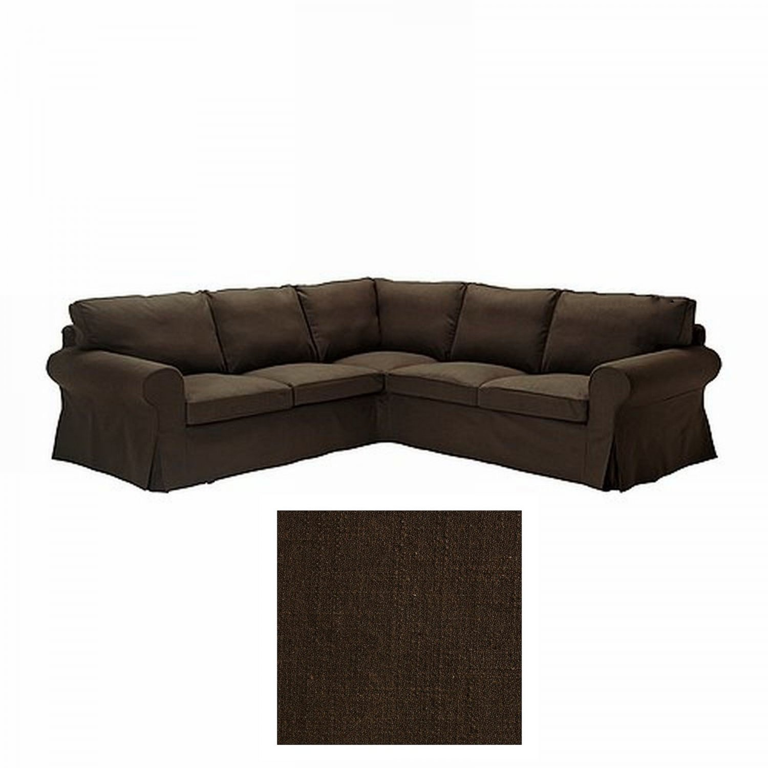 ikea ektorp 2 2 corner sofa cover slipcover svanby brown linen blend 4 seat sectional cvr. Black Bedroom Furniture Sets. Home Design Ideas