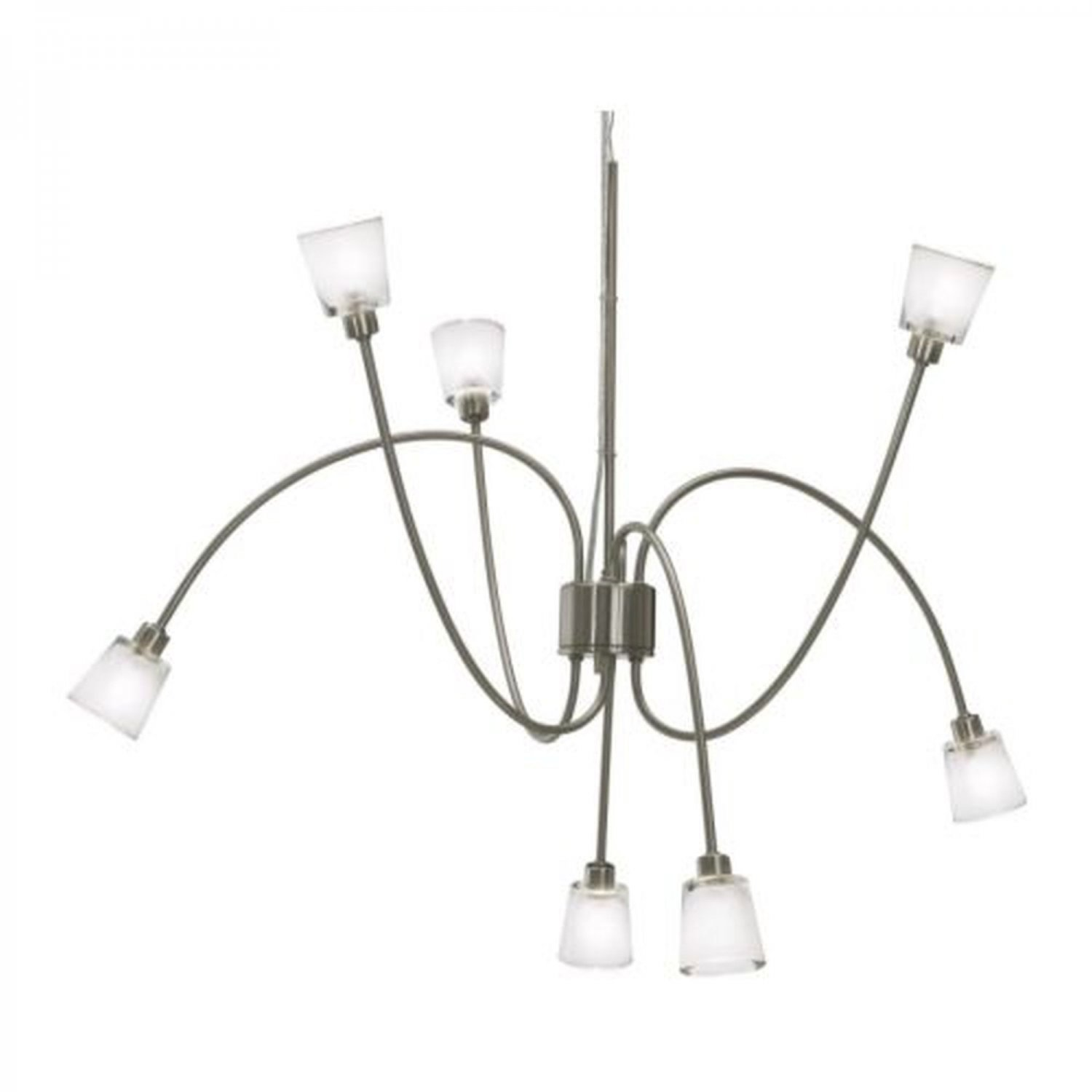 Ikea Kryssbo Chandelier Light Pendant Lamp Glass Nickel Steel Adjustable 7 Arm