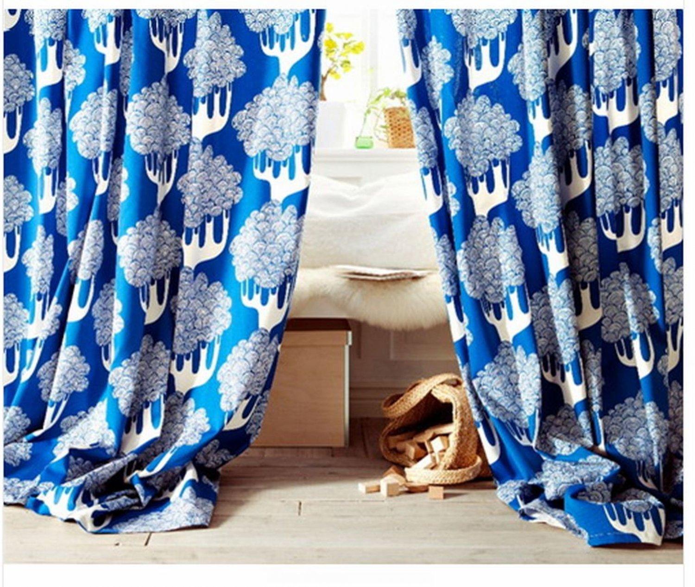 Ikea curtains blue - Ikea Kajsamia Curtains Drapes 2 Panels Blue Grommets 98