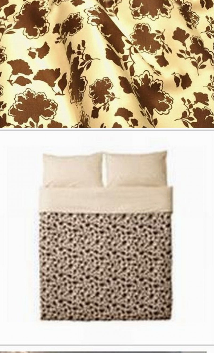 IKEA RANSBY QUEEN Full Double Duvet COVER Set BROWN Beige FLORAL Leaf  MID CENTURY Retro