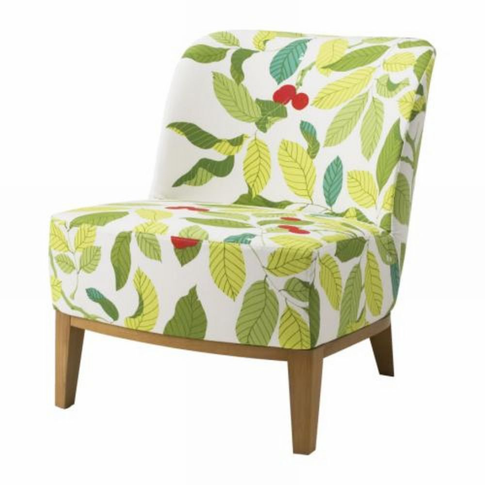 ikea stockholm easy chair slipcover cover blad multi green leaf pattern. Black Bedroom Furniture Sets. Home Design Ideas