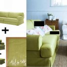 IKEA HOVÅS Hovas Sofa Armchair and Footstool SLIPCOVER Cover Combo KALLVIK Light GREEN Källvik