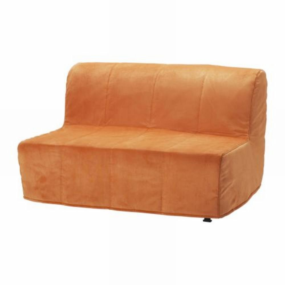 Ikea lycksele sofa bed slipcover cover henan orange quilted Loveseat futon cover