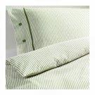 IKEA NYPONROS KING Duvet COVER Set TICKING STRIPES GREEN Yarn Dyed SOFT