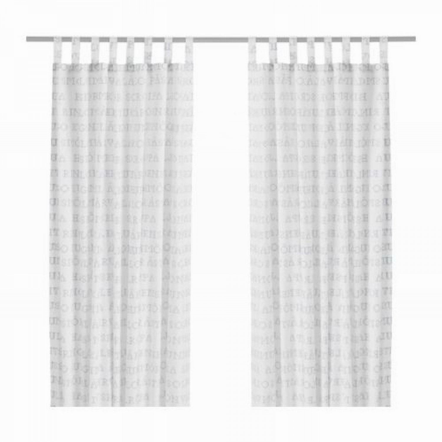 Ikea unni ord alphabet curtains drapes white blue swedish for White curtains ikea