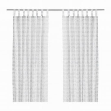IKEA UNNI ORD Alphabet Curtains Drapes WHITE BLUE Swedish Country Cross Stitch Design