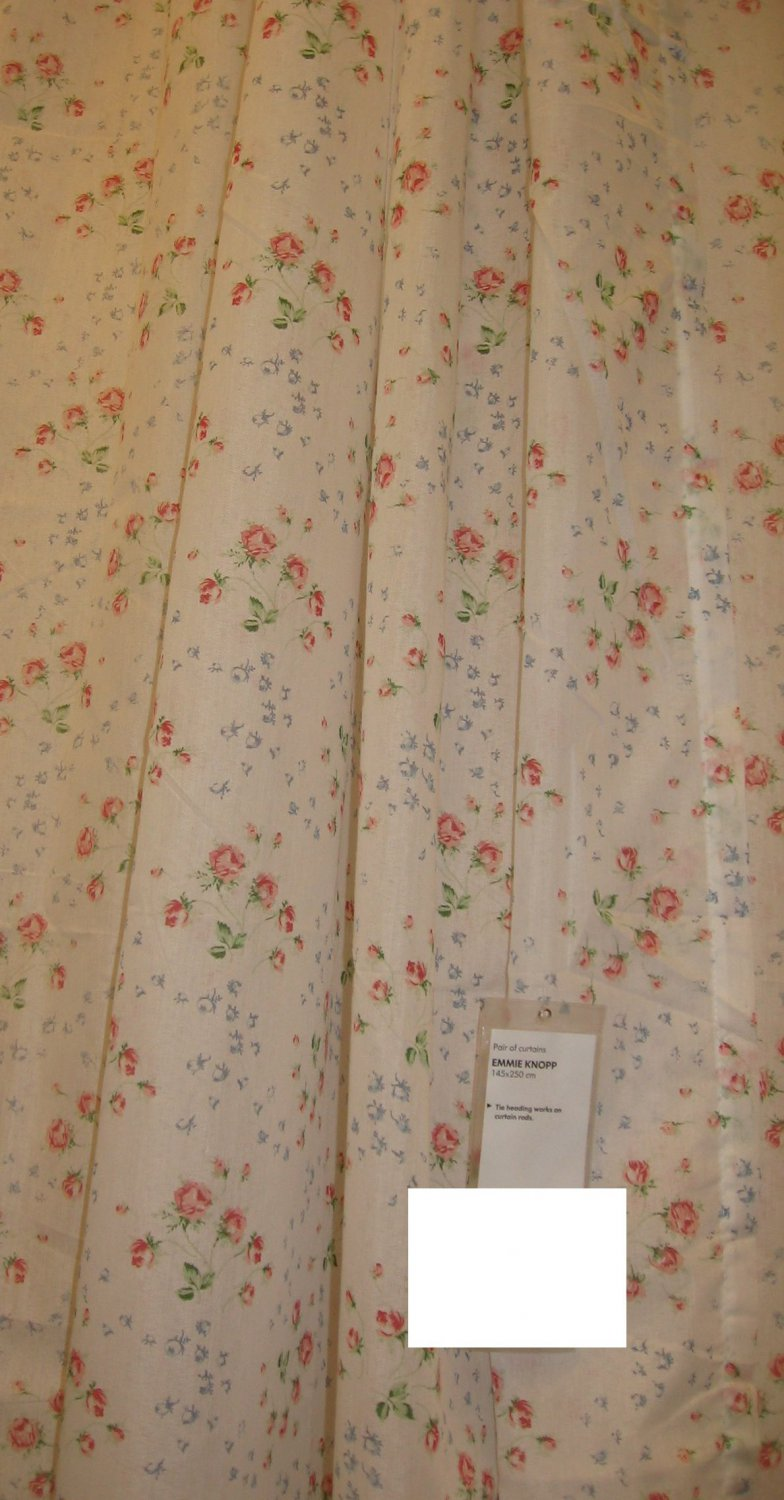 Ikea emmie knopp floral curtains drapes semi sheer english for English floral curtains