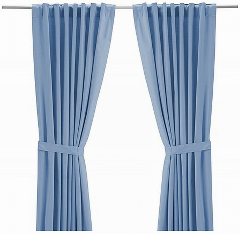 "IKEA RITVA LIGHT BLUE CURTAINS Drapes HEAVY COTTON 98"""