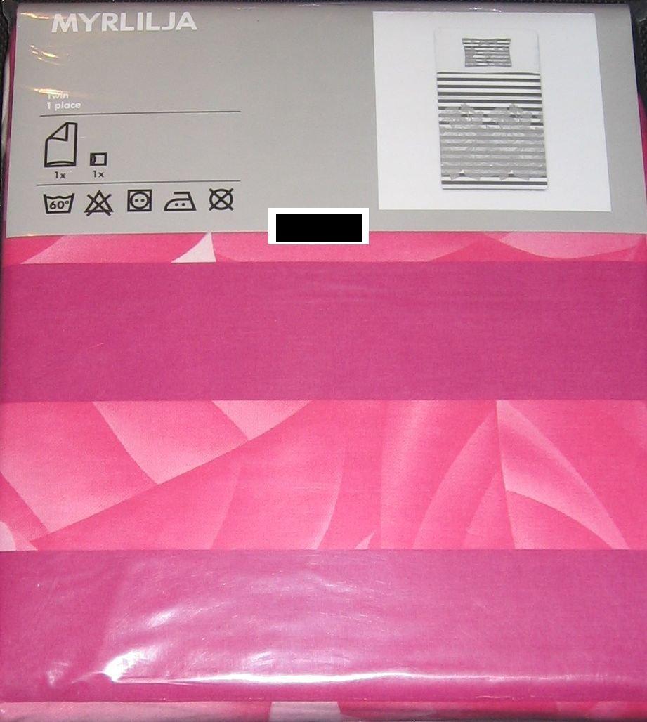 Ikea Myrlilja Twin Duvet Cover Set Pink Floral Black