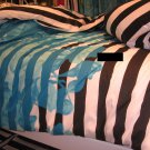 IKEA  MYRLILJA TWIN Duvet COVER Set BLUE Floral BLACK Stripe RETRO Limited Edition