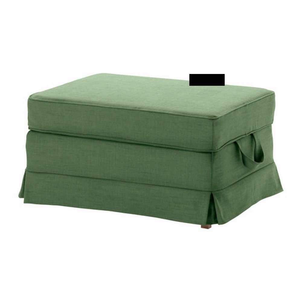 ikea ektorp bromma footstool cover ottoman slipcover svanby green linen blend. Black Bedroom Furniture Sets. Home Design Ideas