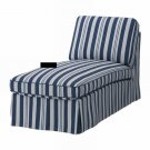 IKEA EKTORP Free-Standing Chaise COVER Slipcover ABYN BLUE White Stripes Åbyn