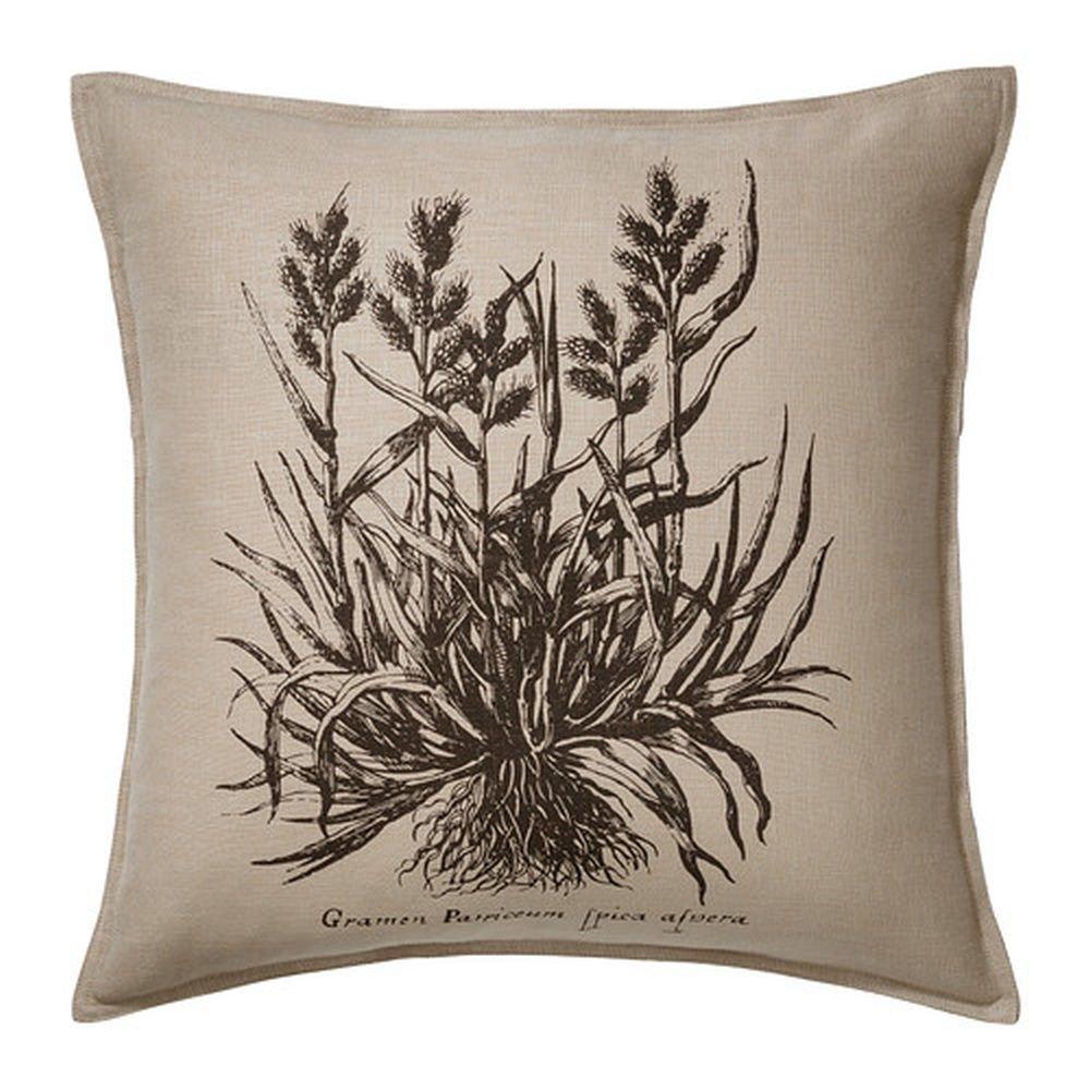 Ikea Fj 196 Lljung Pillow Cover Sham Botanical Beige Black