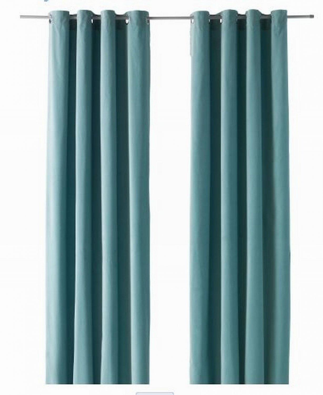 Ikea Sanela Curtains Drapes 2 Panels Light Turquoise Velvet 98