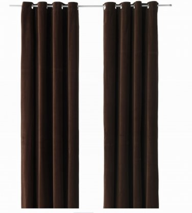 Ikea Sanela Curtains Drapes 2 Panels Dark Brown Velvet 98