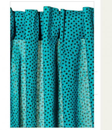 IKEA N�TVIDE Natvide CURTAINS Drapes 2 Panels Turquoise Black POLKA DOT
