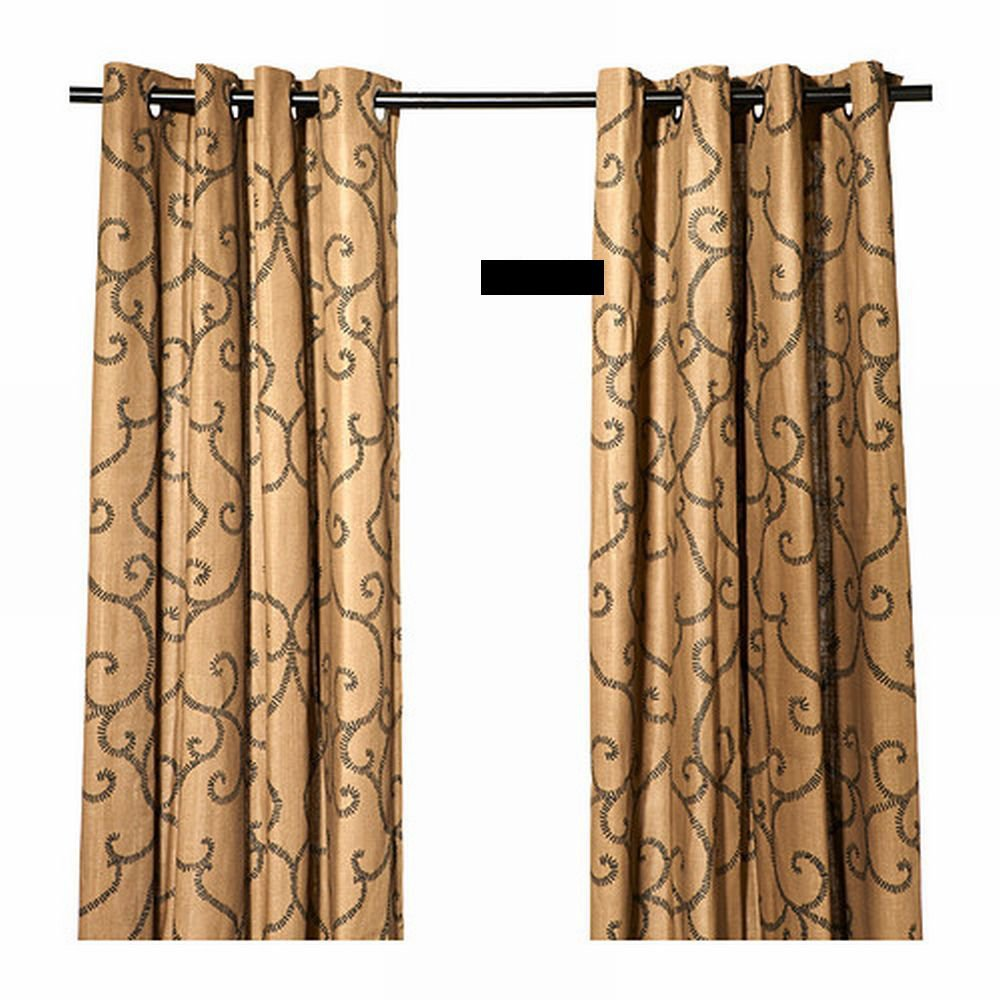 Ikea N 196 Tvide Natvide Curtains Drapes 2 Panels Brown Black