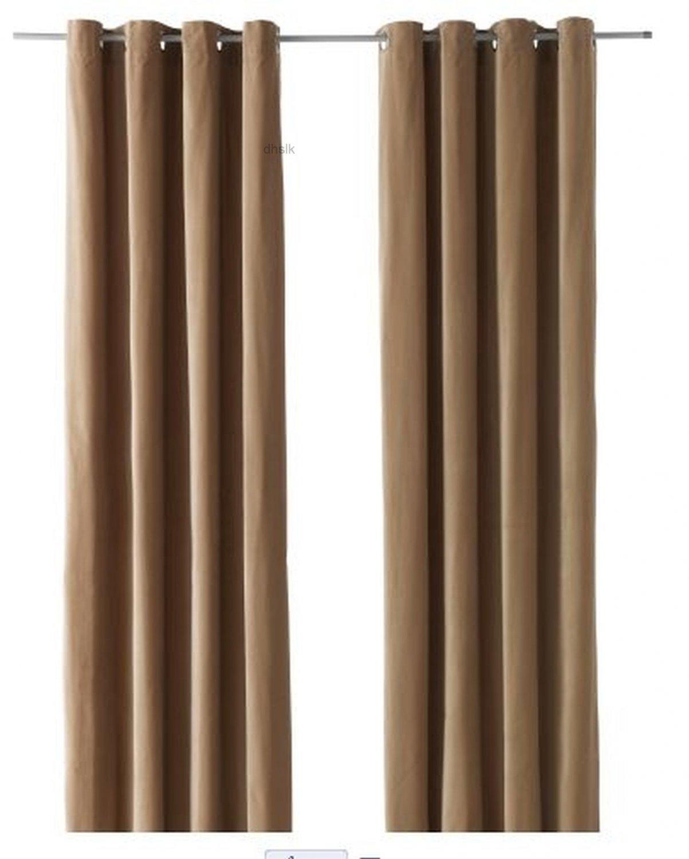 "IKEA SANELA CURTAINS Drapes 2 Panels BEIGE VELVET 98"" Grommet Top"