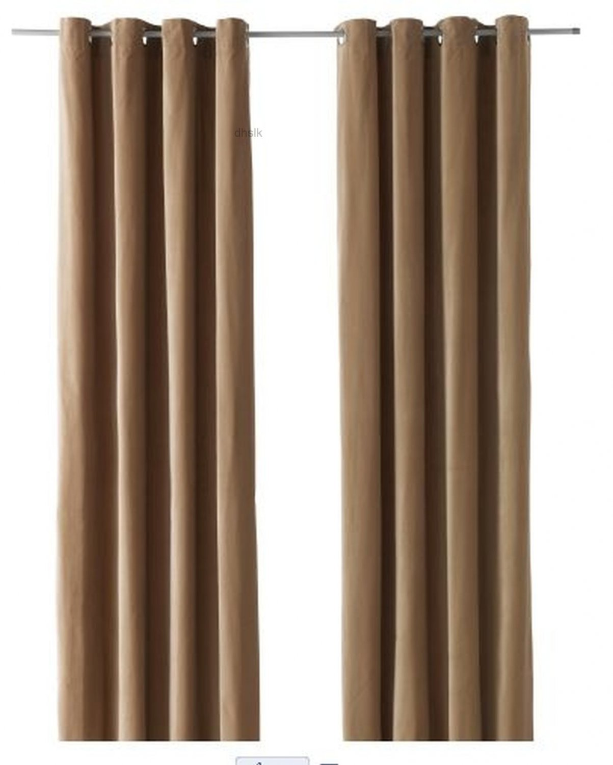 Ikea sanela curtains drapes 2 panels beige velvet 118 for Ikea curtain rods uk