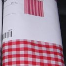 IKEA MARGARETA Fabric SHOWER Curtain RED White CHECKED Gingham XMAS