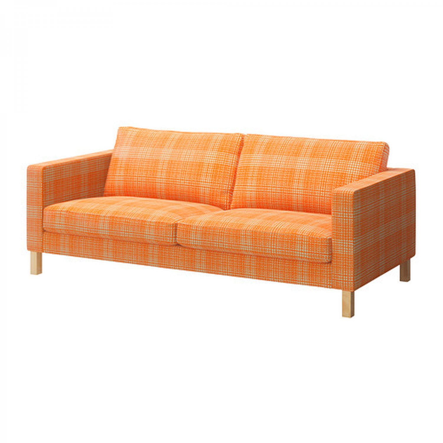Ikea karlstad 3 seat sofa slipcover cover husie orange print for Sofa orange