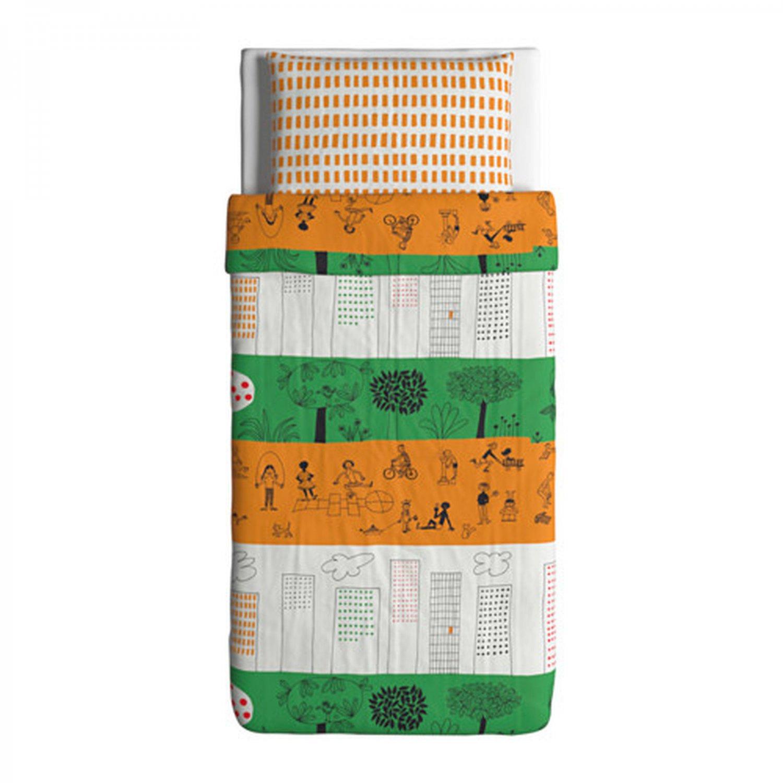 IKEA Onskedrom TWIN Duvet COVER Pillowcase Set �NSKEDR�M Orange Green Graphic Design