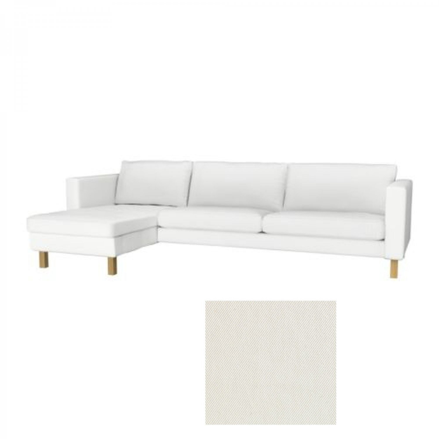 Ikea karlstad 3 seat sofa and chaise slipcover cover blekinge white add on Ikea karlstad sofa