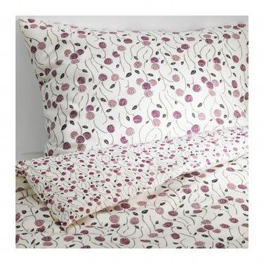 IKEA MAJVIVA KING Duvet COVER Pillowcases Set WHITE LILAC Purple Floral Rose