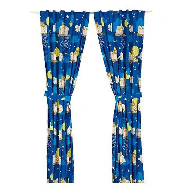 Ikea curtains blue - Ikea Vandring Uggla Curtains W Tie Backs Night Owl Nature Girl Boy Retro Halloween