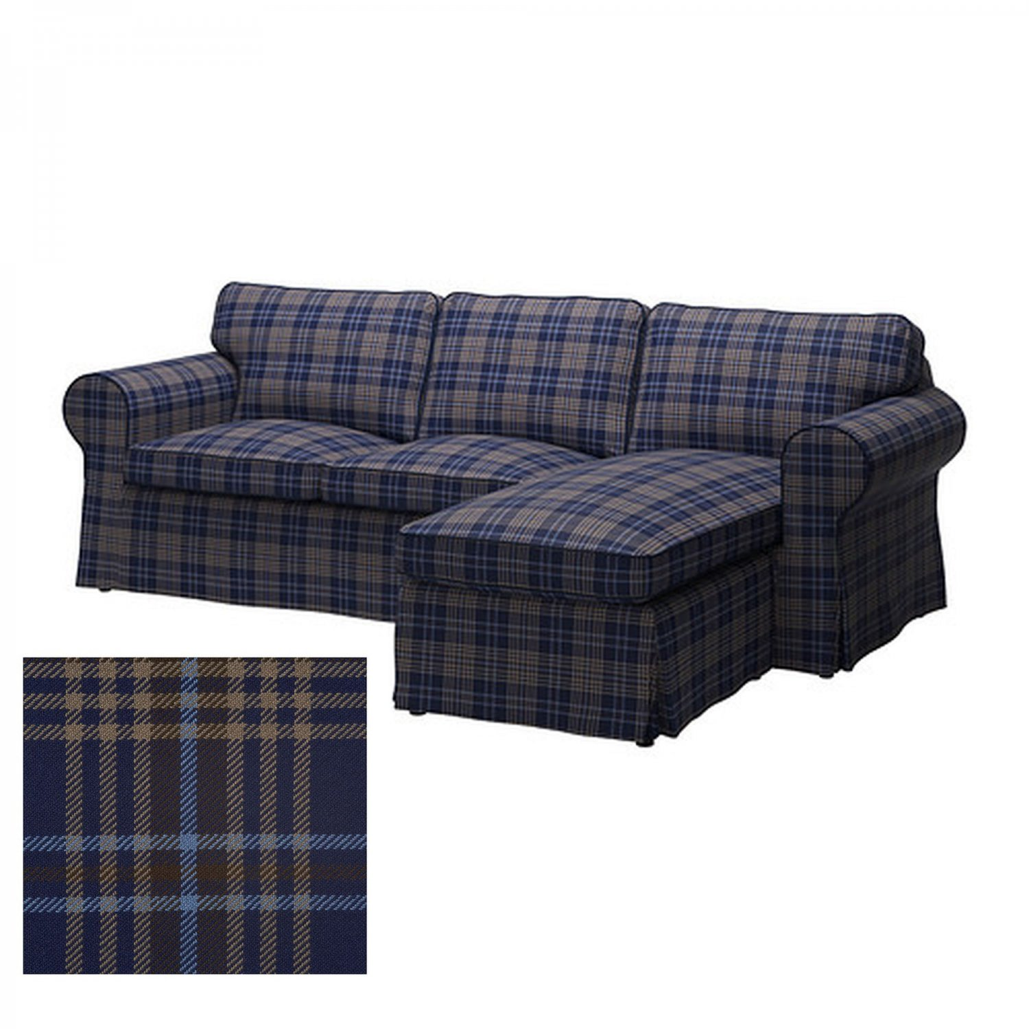 Ikea Ektorp Loveseat With Chaise Cover Slipcover Rutna Multi Plaid Blue