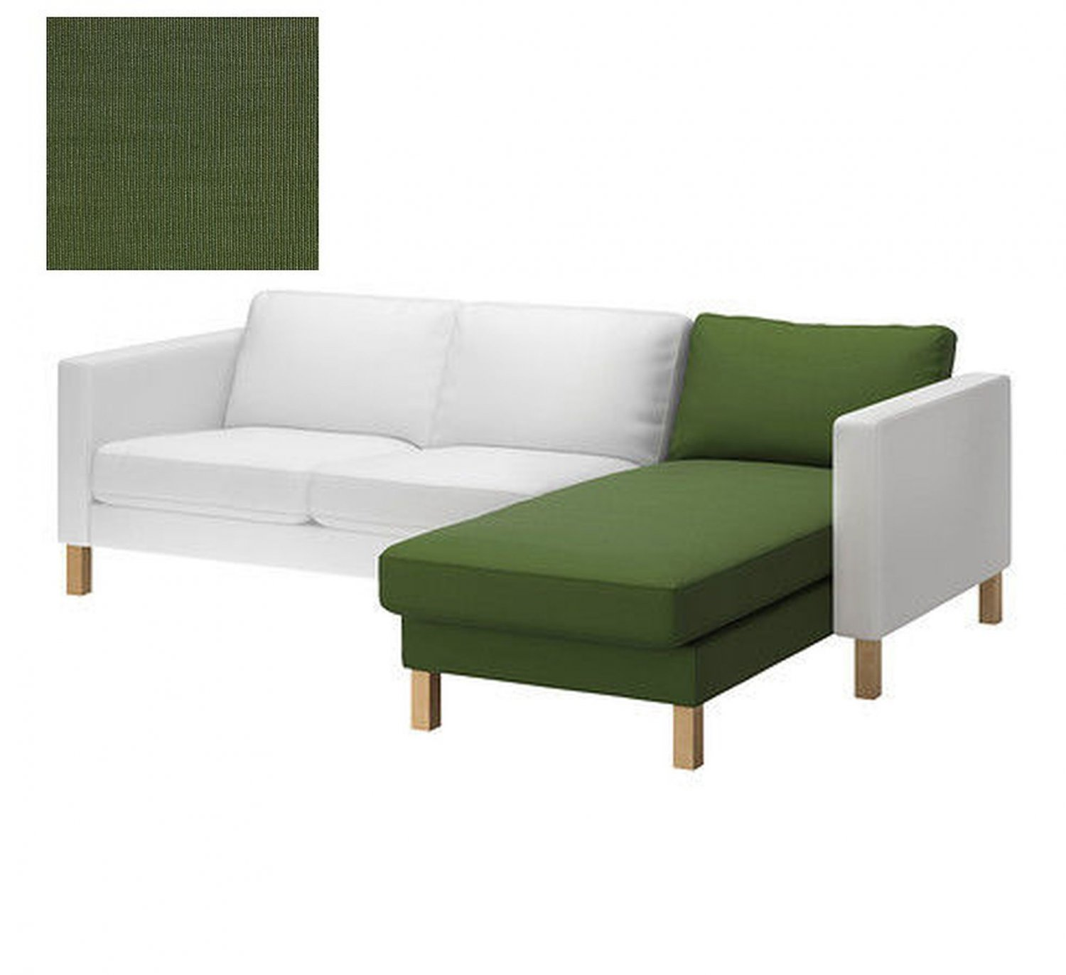Ikea KARLSTAD Add On Chaise SLIPCOVER Cover SIVIK DARK GREEN Mid Century Modern
