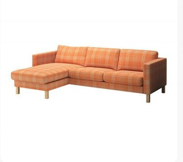 Ikea Karlstad 2 Seat Loveseat Sofa And Chaise Slipcover Cover Husie Orange Print