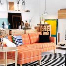Ikea KARLSTAD 3 Seat Sofa and Chaise SLIPCOVER Cover HUSIE ORANGE Print
