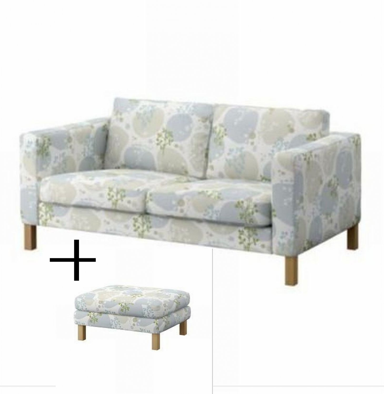 Ikea Karlstad 2 Seat Sofa And Footstool Slipcovers Loveseat Ottoman Cover Gronvik Gr Nvik Multi