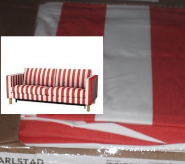 Ikea KARLSTAD Sofa Bed Sofabed SLIPCOVER Cover RANNEBO RED White STRIPES