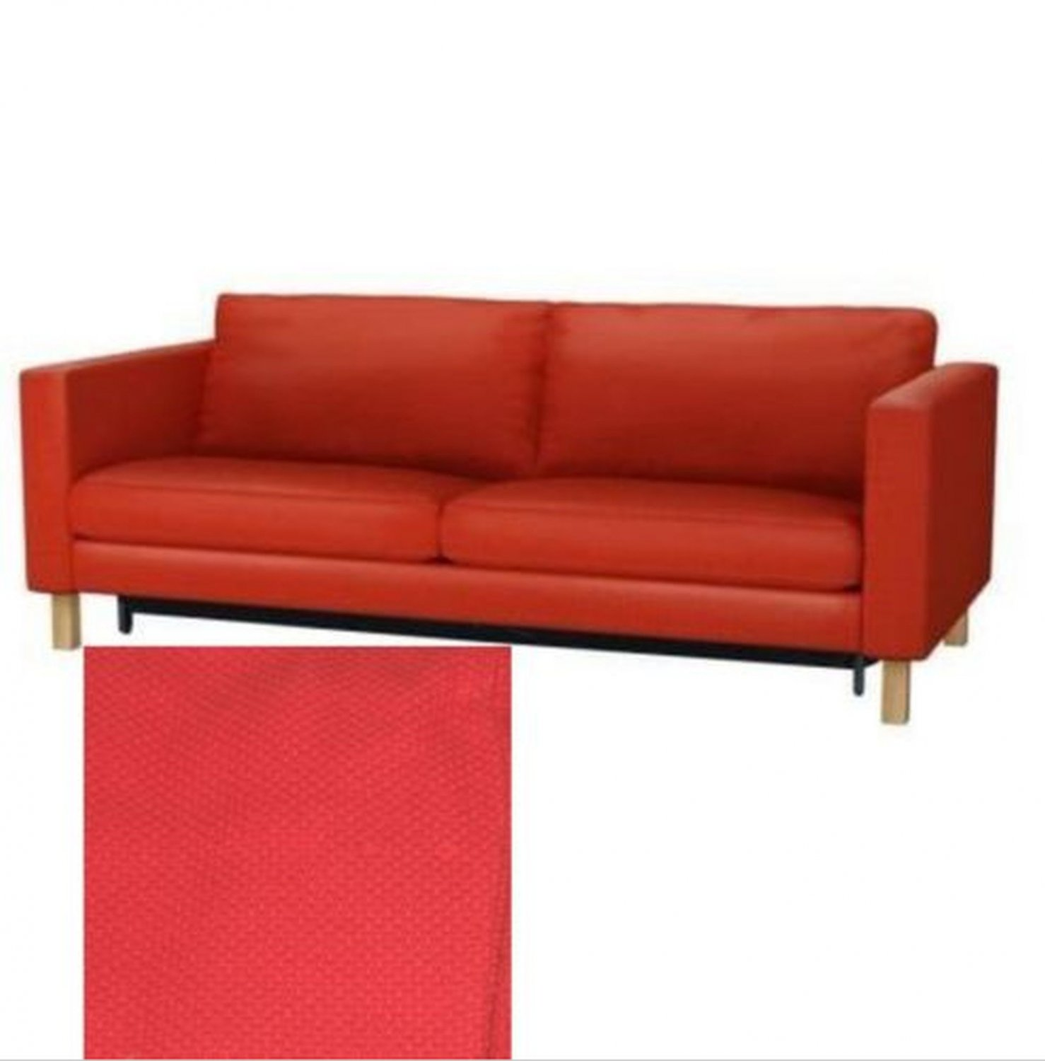 Ikea karlstad sofa bed sofabed slipcover cover korndal red for Sofa bed cover