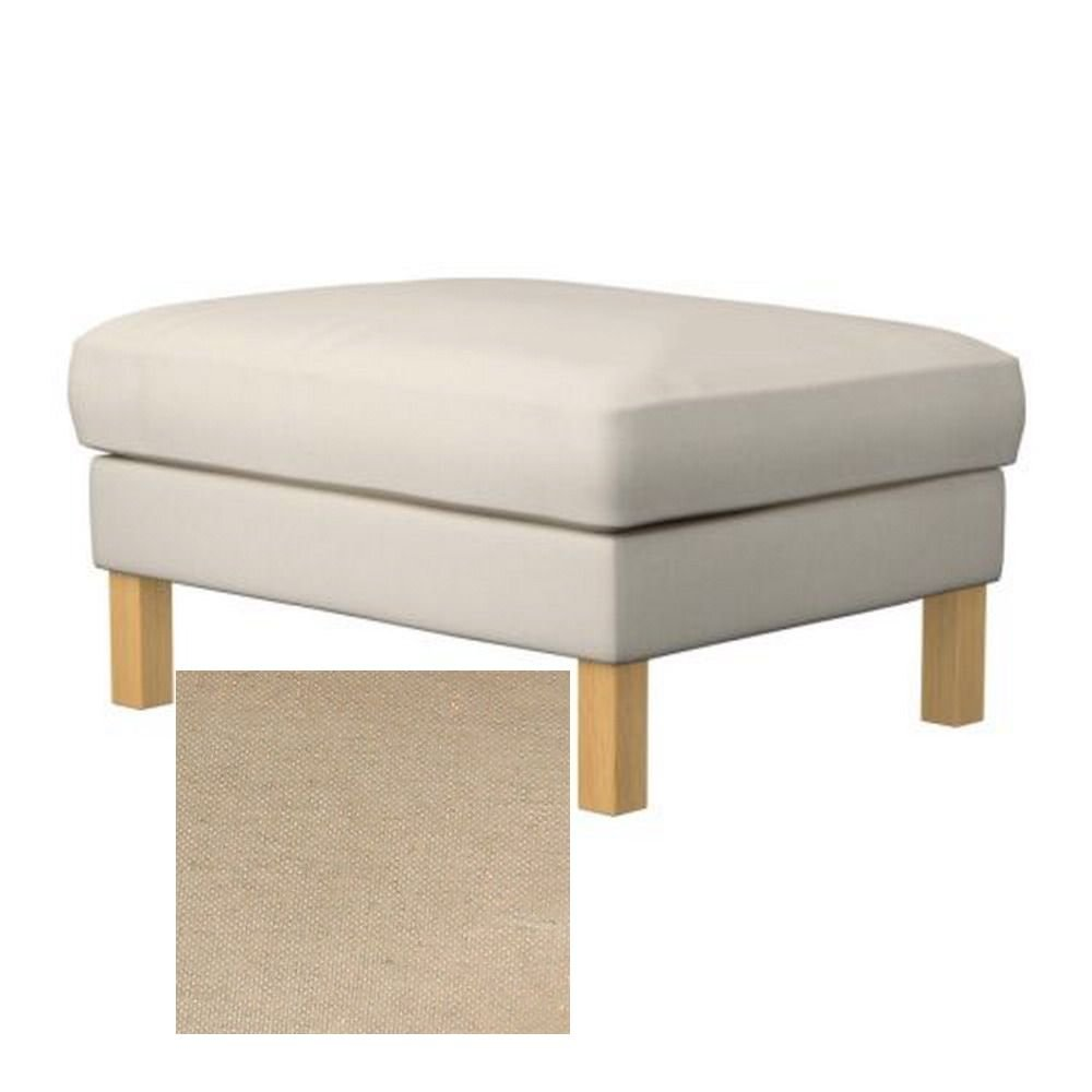 Ikea KARLSTAD Footstool SLIPCOVER Ottoman Cover LINNERYD NATURAL Beige